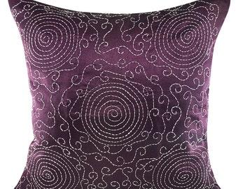 Plum Decorative Pillow Cover, Dark Purple Pillow Cover, Plum Pillow Cover, Kantha Accent Pillow, 18x18 Kantha Pillow