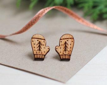 Cosy Mitten Christmas Earrings - Cute Christmas Earrings - Secret Santa Gift - Festive Jewellery - Stocking stuffer - Holiday Earrings