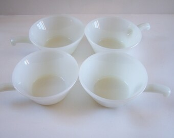 4 Anchor Hocking Fire King milk glass bowls with handle by 4 vintage  Made in USA