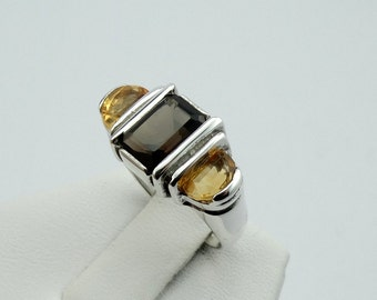 Perfect Fall Colors in a Sterling Silver Ring with Smokey Quartz and Citrine  #AMBCIT-SR1