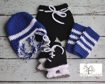 Newborn Hockey Outfit, Newborn Photography Prop, Crochet hockey outfit, hockey skates