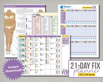 Beachbody 21-Day Fix Planner, 1500 to 1799 calories, Editable, Printable, Instant Digital Download