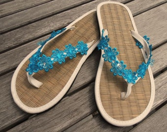 Ladies Straw Flip Flops Hand Decorated with Coloured Lace and Buttons