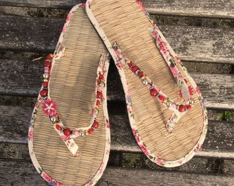 Ladies Straw Flip Flops decorated with beads