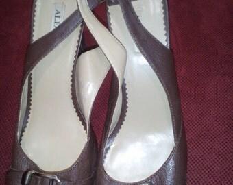 ALFANI Women Leather Step n Flex platform Peep Toe sandal Pumps Slingback High Heel Shoes 10M Brown