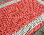 Custom order-Theresa-Plush thick crocheted cotton coral and cream bath mat or rug-Cotton crochet grey and white bath mat or rug-nursery rug.
