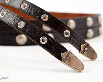 Vintage Black Leather Western Belt | 1990s | Metal Belt Buckle | Black Leather | Women's Belt