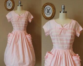 Vintage 1950s ~ 50s Deadstock Pink Day Dress. Big Pockets