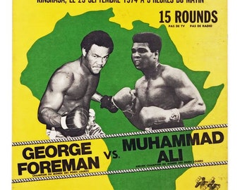 Muhammad Ali vs George Foreman 1974  Art Canvas Poster Print Stretched Canvas Art Choice of sizes available.