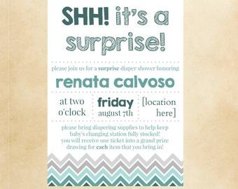 SHH Itu0027s A Surprise! * Baby Shower * Invite, Announcement * Printable * DIY