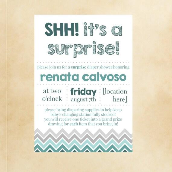 SHH it's a surprise Baby shower Invite announcement