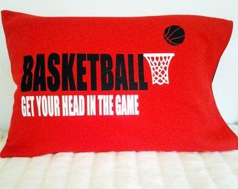 basketball pillowcase; basketball decor; gift for basketball player