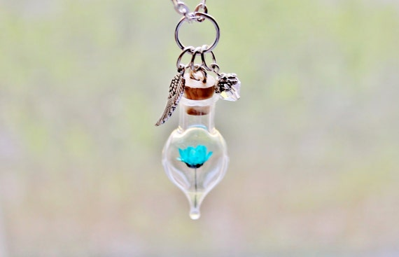 Turquoise Flower Terrarium Necklace April Birthstone in Clear Crystal Unique Gift Idea, Wing Charm, Nature Jewelry Glass Bottle Pendant
