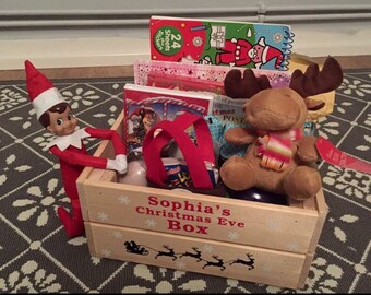Handmade Christmas Eve box, crate personalised with any name.