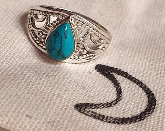 Sterling silver turquoise drop ring