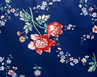 "Vintage Jay Yang Victoria and Albert Museum polished cotton fabric -- royal blue floral fabric 56"" wide"