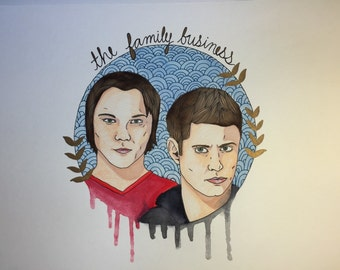 Sam and Dean Supernatural Original Drawing