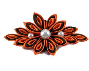 CLEARANCE Kanzashi flower french barrette clip Christmas hair clip Holiday hair clip Women hair clip Wedding kanzashi hair clip
