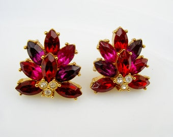 Vintage Red Pink Purple Jewel Tone Facet Rhinestone Holiday Earrings, Signed Roman