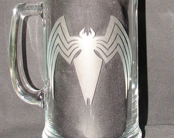 Venom Marvel Comics Anti Hero Logo Hand Etched on Beer Mug or Pint Glass