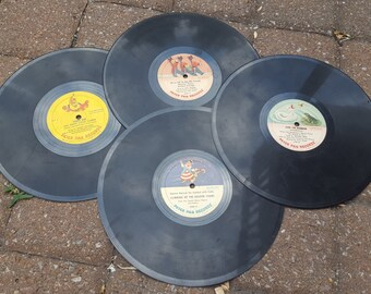 PETER PAN RECORDS Vinyl Records Vintage Set of Four 1950s