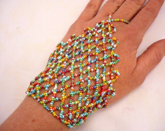 Multicolor, rainbow color hand bracelet, slave bracelet,seed beaded bracelet,hand-ring bracelet, beaded hand bracelet, beaded slave bracelet