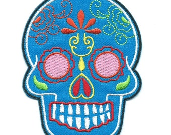 Blue Mexican Sugar Skull Iron On Patch Embroidered Applique