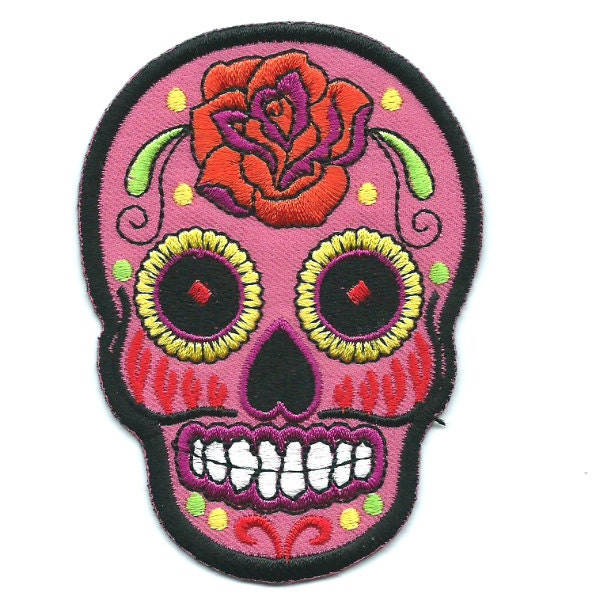 Pink Rose Sugar Skull Iron On Patch Embroidered Applique
