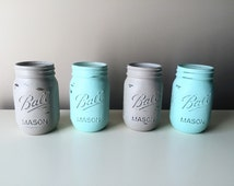 Gray Centerpieces - Gray Mason Jars - Painted Mason Jars - Shabby Rustic Home Decor - Set of 4 - Mint and Gray Wedding - Mint Centerpieces