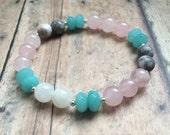 Moonstone & Rose Quartz Fertility Bracelet. Aquamarine IVF Infertility Healing Bracelet. Handmade Gemstone Beaded Bracelet.