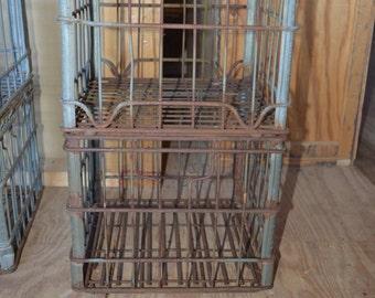 Vintage Metal Milk Crate ~ Silver Wire Milk Crate
