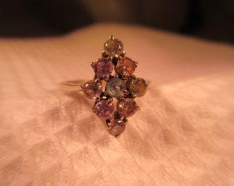 Vintage Sterling Silver Multi Gemstone Ring - 7