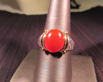 Cool Retro Sterling Silver Brass & Burnt Orange Colored Gemstone - 10