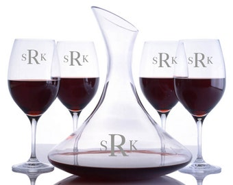 Personalized Engraved Crystal Ultra Magnum Wine Decanter & 4 Red Wine Glasses Set By Ravenscroft-Free Shipping