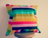 Stripey Rainbow Cushion Cover With Zip,Handmade,New,Gift Ideas,Home Decor,Modern Decor,Colourful,Large,Plump,Art,Patchwork,Stocking Filler