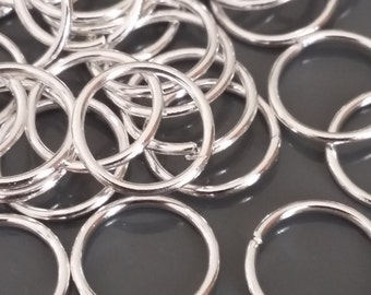 8mm Jump Rings - Silver Plated Findings - 18g (Approx. 250pcs) - Jewelry Supplies Bulk- B00622
