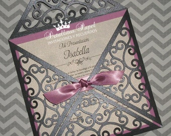 Quinceanera Invitation, Wedding Invitation, Laser cut invitations, Gatefold invitations 50