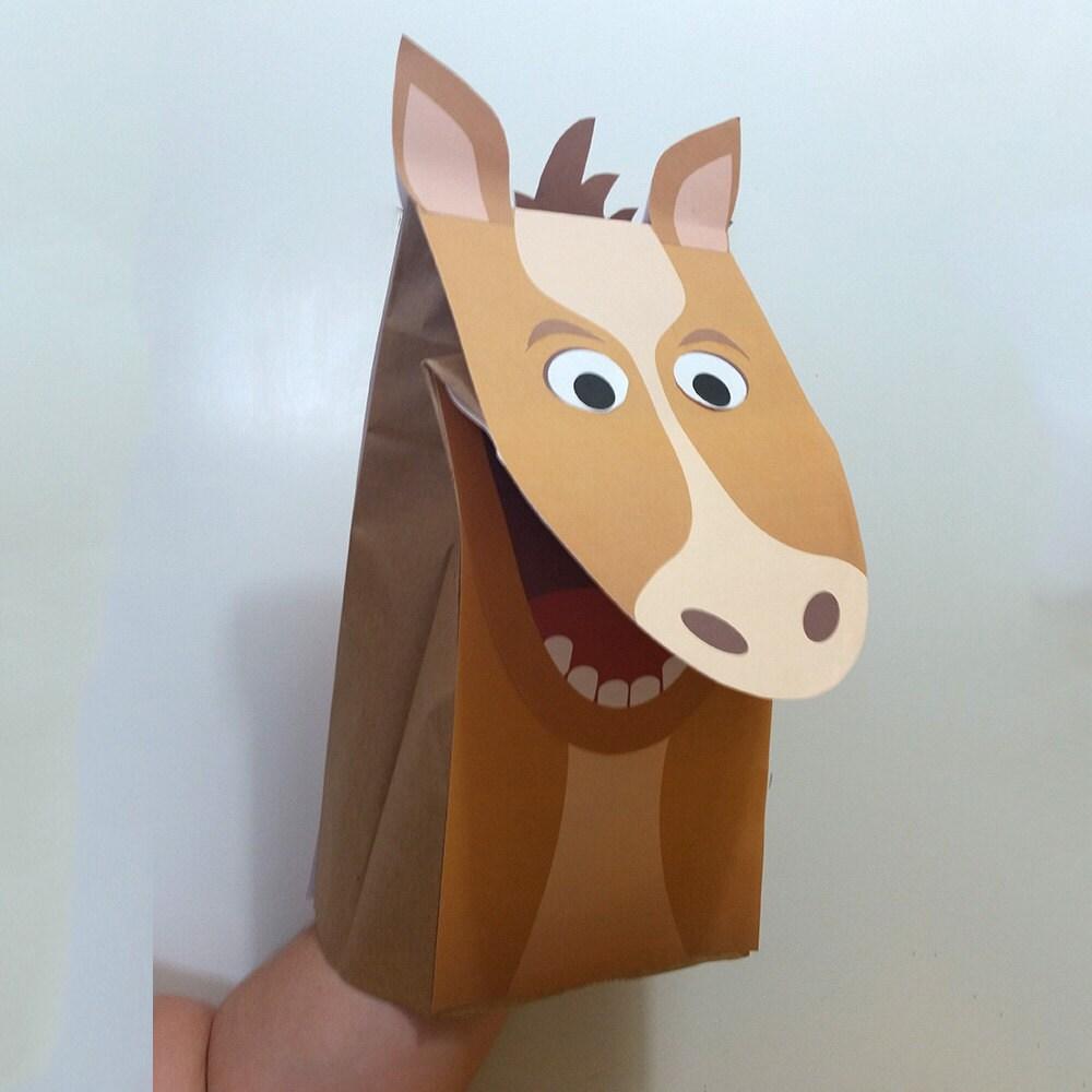 Horse Paper Bag Puppet Full Color Downloadable Pdf