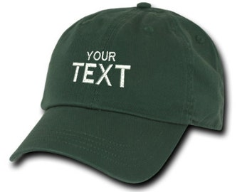Dark Green Dad Hat Custom Embroidered Baseball Cap, Your Own Personalized Hat Custom Hat on a Curved Brim Baseball Cap, Choose Your Text