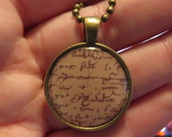 Old scroll pendant necklace One of a Kind