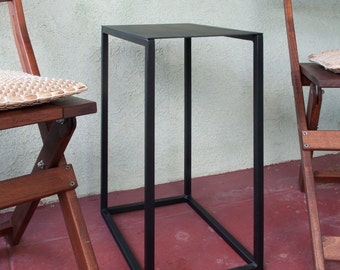 "Rectangular Metal Side Table, Powder coated flat black, 10x15"" x 21"" tall metal side table"
