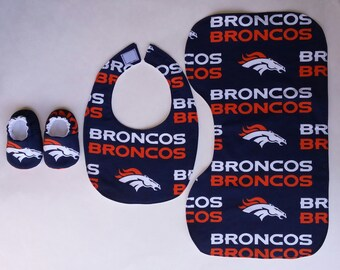 Denver Broncos baby set - contoured burp cloth, bib, baby shoes, crib shoes, baby slippers