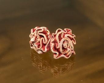 Earrings stud earrings Flower earrings Clay post earrings Handmade Earrings Clay Hand shaped Painted earings Rose flower earings