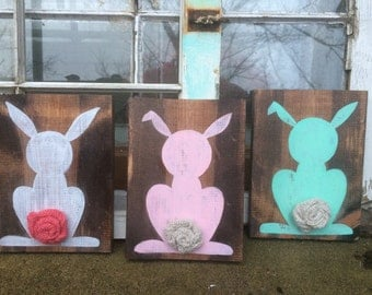Easter decor, bunny wall hangings, easter bunny decor
