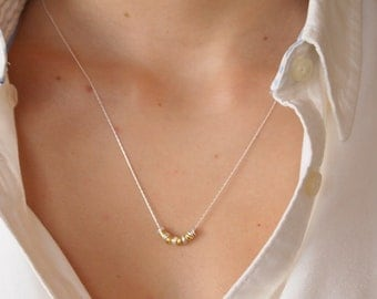 Modern Necklace in Sterling Silver and Gold Vermeil (Gold over Sterling Silver)