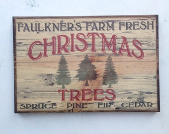 Vintage Typography Christmas Tree Wood Sign Art Holiday Sign