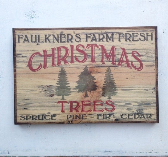 Personalized Vintage Farm Fresh Christmas Trees Sign On Wood