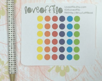 Rainbow Colored Circles | Life Planner Stickers