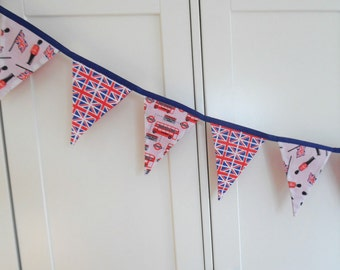 London / England Red, White and Blue handmade fabric bunting - made in England