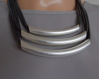 Gunmetal Grey and Silver Bar Statement Necklace